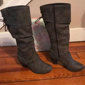 Jellypop Bibiana Gray/Taupe Tall lace-up Boots sz6